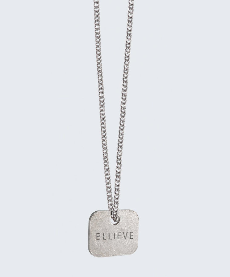Square Pendant Extra Long Necklace Necklaces The Giving Keys BELIEVE Silver