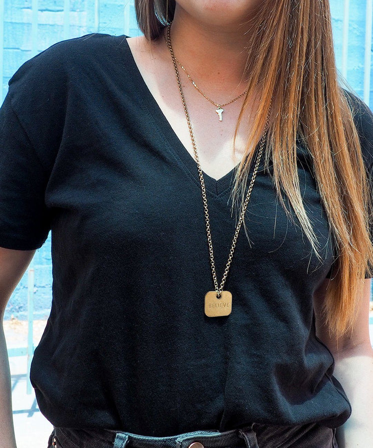 Square Pendant Necklace Necklaces The Giving Keys CUSTOM Gold