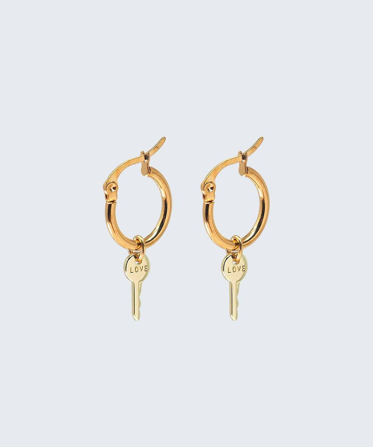 Gold Love Mini Key Hoop Earring Earrings The Giving Keys X-Small Gold
