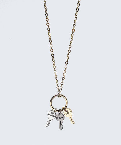 Champagne Gold Tri Tone Ring Key Necklace Necklaces The Giving Keys