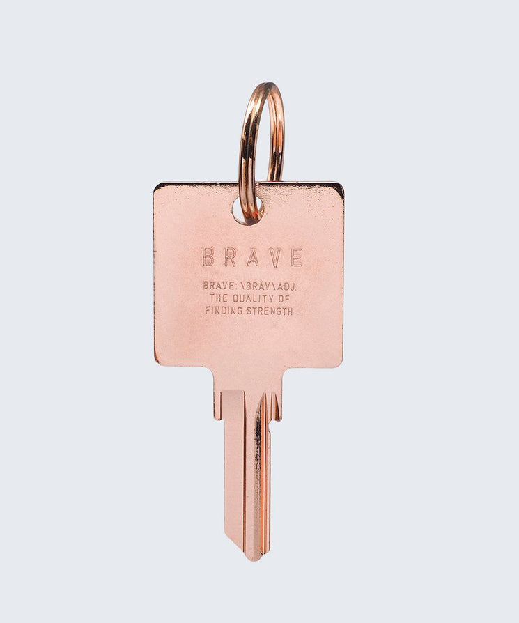 BRAVE Definition Keychain Key Chain The Giving Keys BRAVE Rose Gold