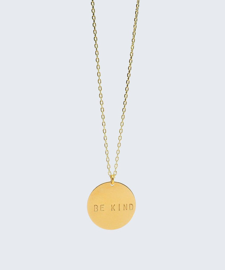 BE KIND Disc Pendant Necklace Necklaces The Giving Keys BE KIND Gold