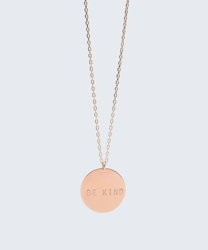 BE KIND Disc Pendant Necklace Necklaces The Giving Keys BE KIND Rose Gold
