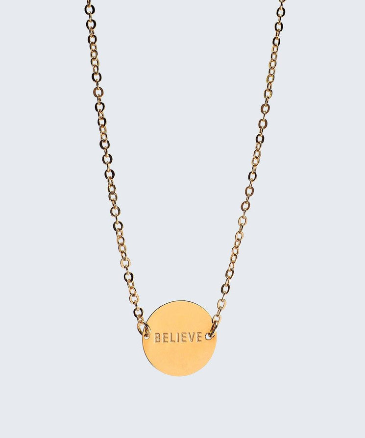 Never-Ending Large Disc Necklace Necklaces The Giving Keys BELIEVE Gold