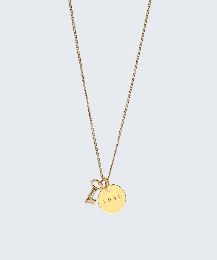 Mini Skeleton Key & Disc Necklace Necklaces The Giving Keys Gold LOVE