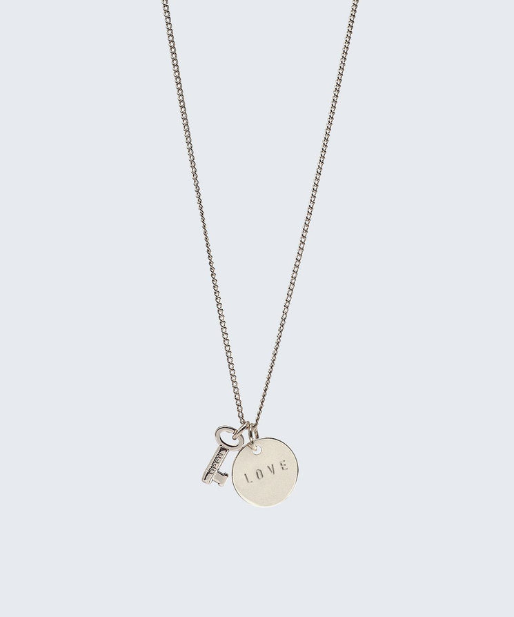 Mini Skeleton Key & Disc Necklace Necklaces The Giving Keys Silver LOVE