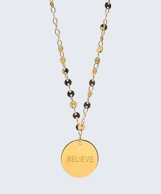 Barcelona Disc Necklace Necklaces The Giving Keys BELIEVE Gold