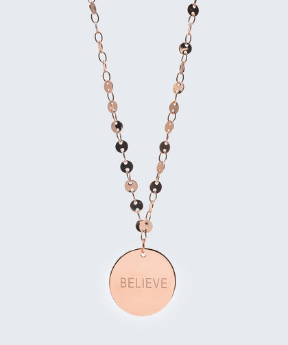 Barcelona Disc Necklace in Rose Gold Necklaces The Giving Keys BELIEVE Rose Gold