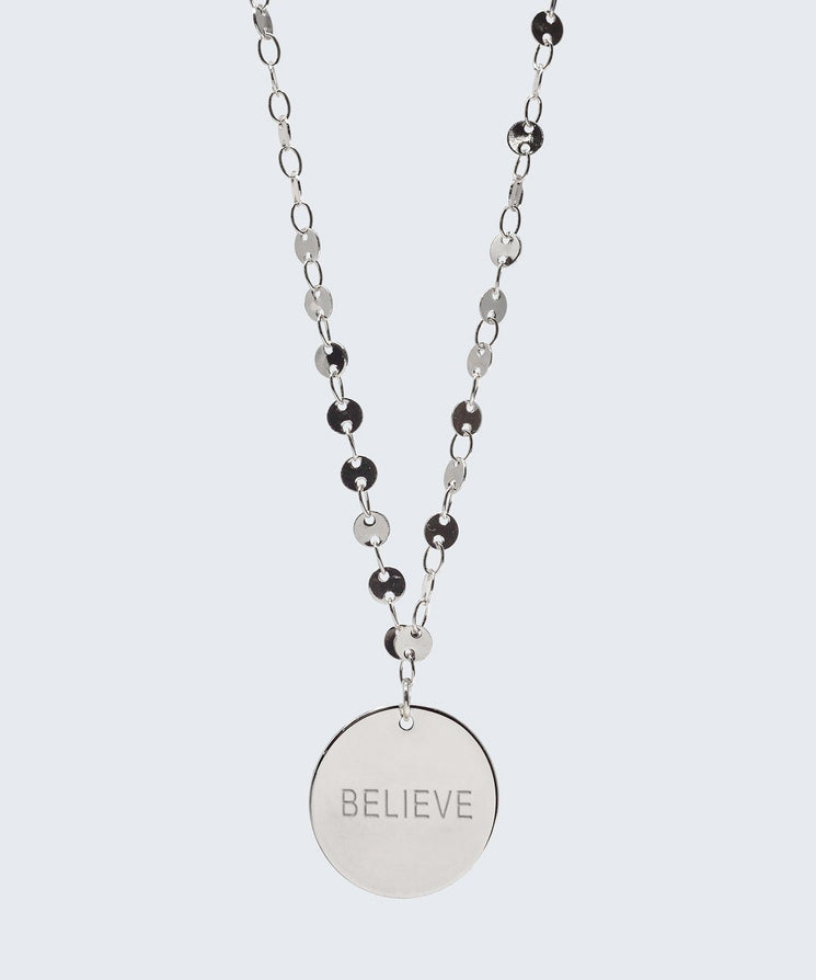 Barcelona Disc Necklace Necklaces The Giving Keys BELIEVE Silver