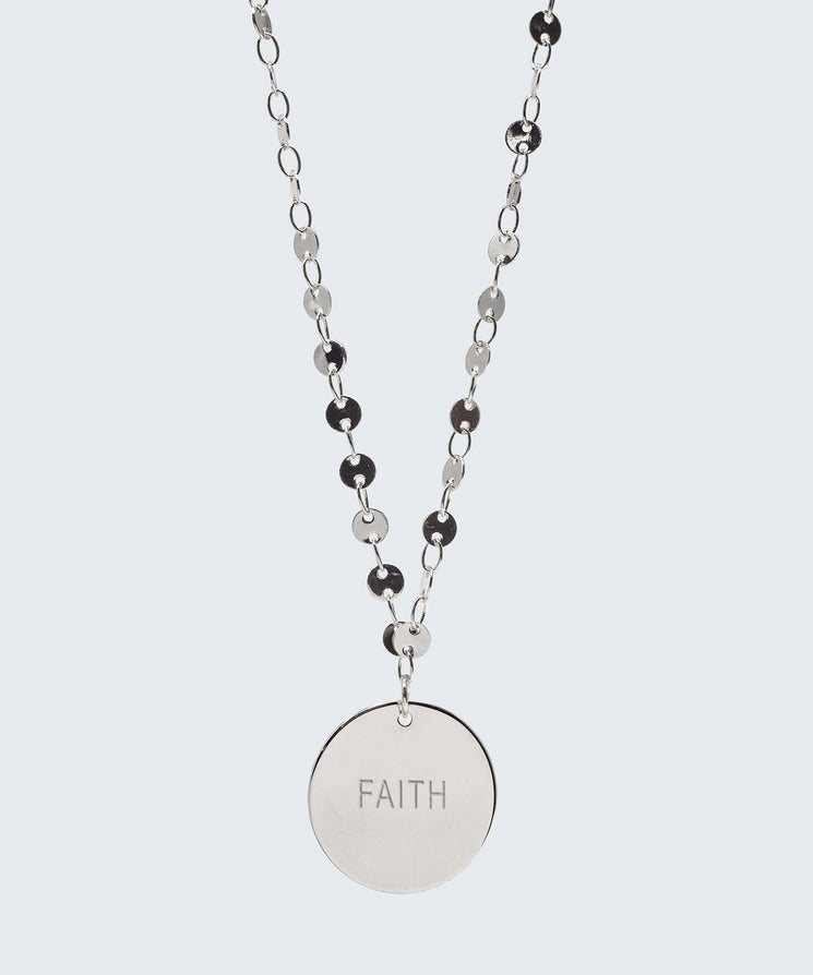 Barcelona Disc Necklace Necklaces The Giving Keys FAITH Silver