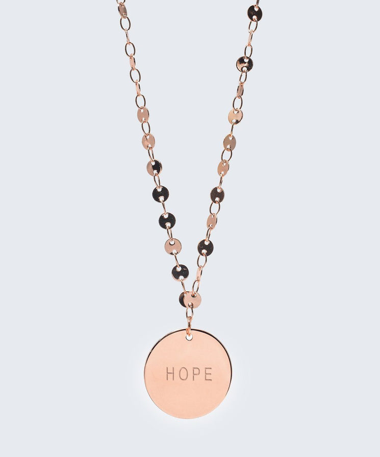 Barcelona Disc Necklace in Rose Gold Necklaces The Giving Keys HOPE Rose Gold