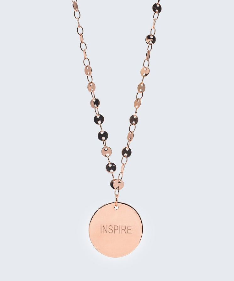 Barcelona Disc Necklace in Rose Gold Necklaces The Giving Keys INSPIRE Rose Gold