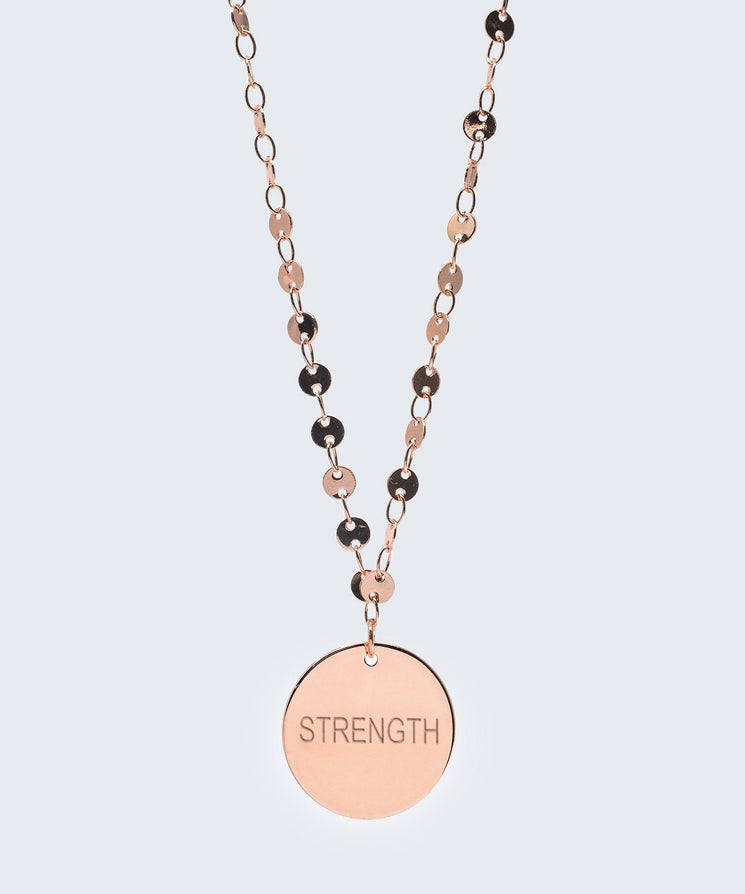 Barcelona Disc Necklace in Rose Gold Necklaces The Giving Keys STRENGTH Rose Gold