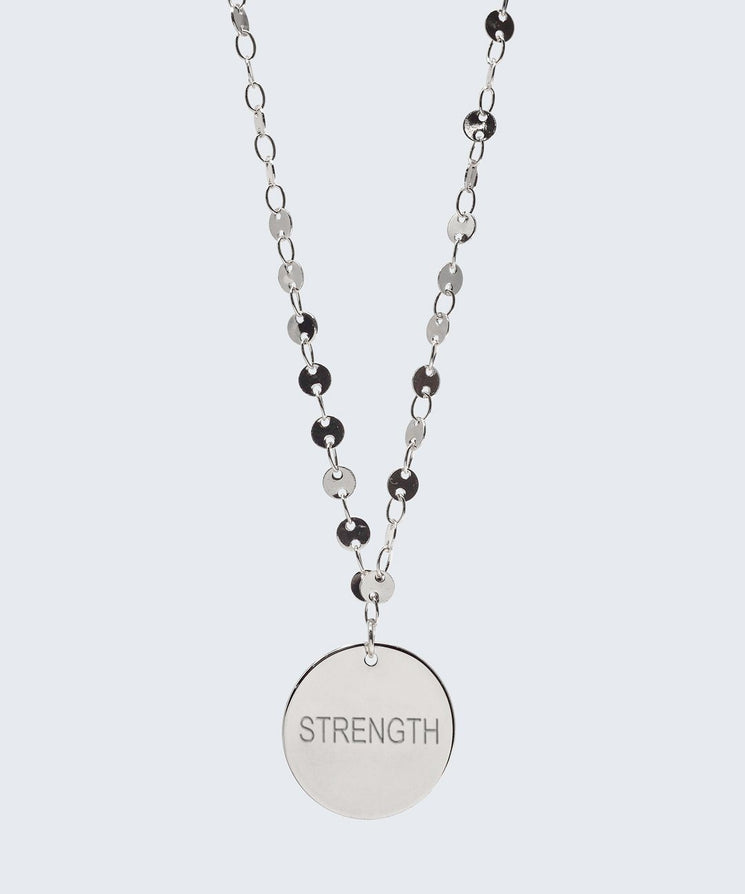 Barcelona Disc Necklace Necklaces The Giving Keys STRENGTH Silver