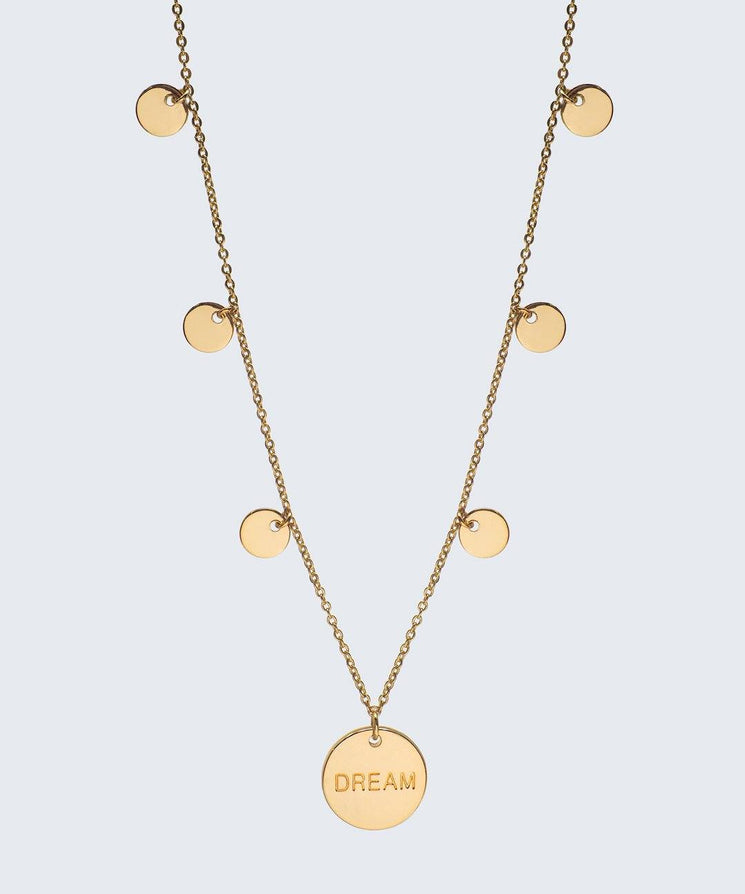 Multi Dream Disc Necklace Necklaces The Giving Keys Dream Gold