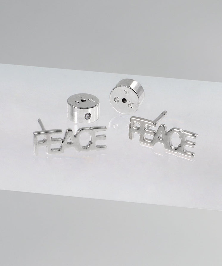 PEACE Block Letter Earring Earrings The Giving Keys SILVER
