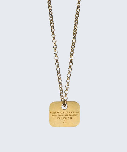 Wilder Poetry Square Pendant Necklace Necklaces The Giving Keys NEVER APOLOGIZE ANTIQUE GOLD