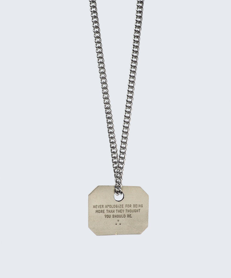 Wilder Poetry Square Pendant Necklace Necklaces The Giving Keys NEVER APOLOGIZE SILVER