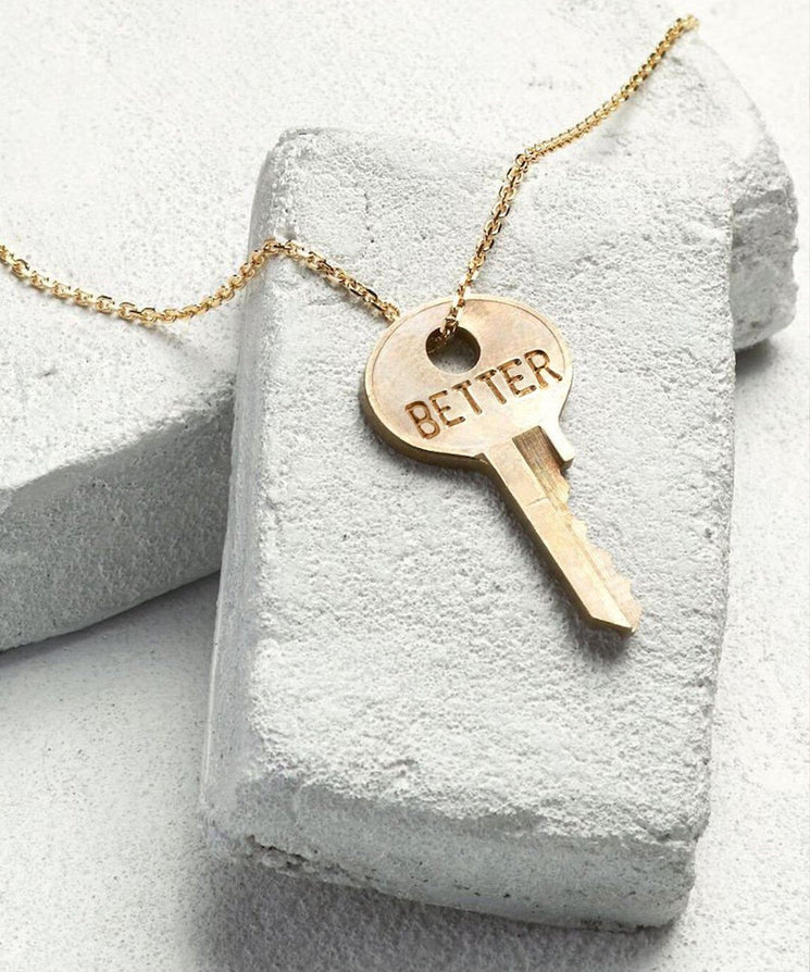 BETTER Dainty Key Necklace in Gold Necklaces The Giving Keys BETTER GOLD
