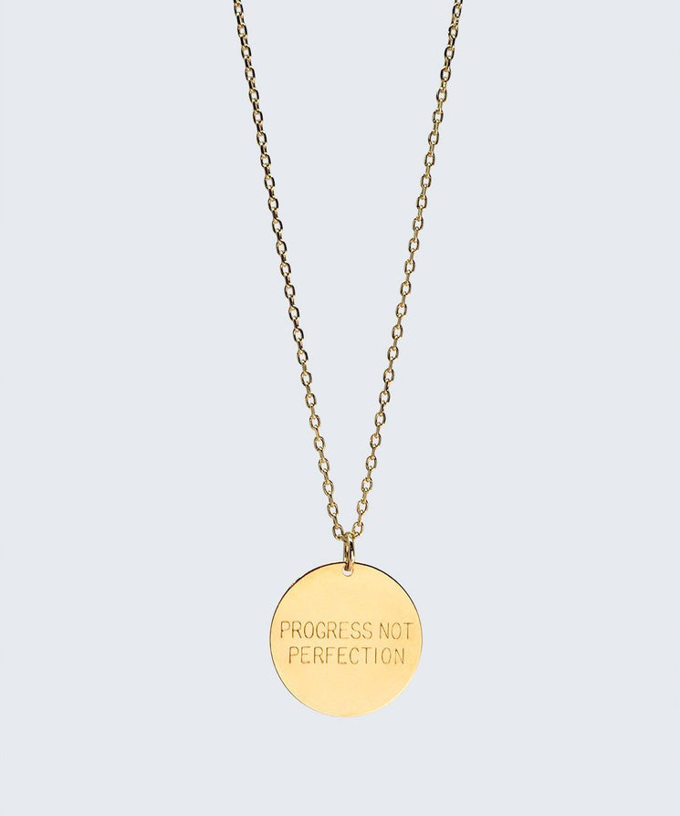 Love Your Flawz Disc Necklace Necklaces The Giving Keys PROGRESS NOT PERFECTION GOLD