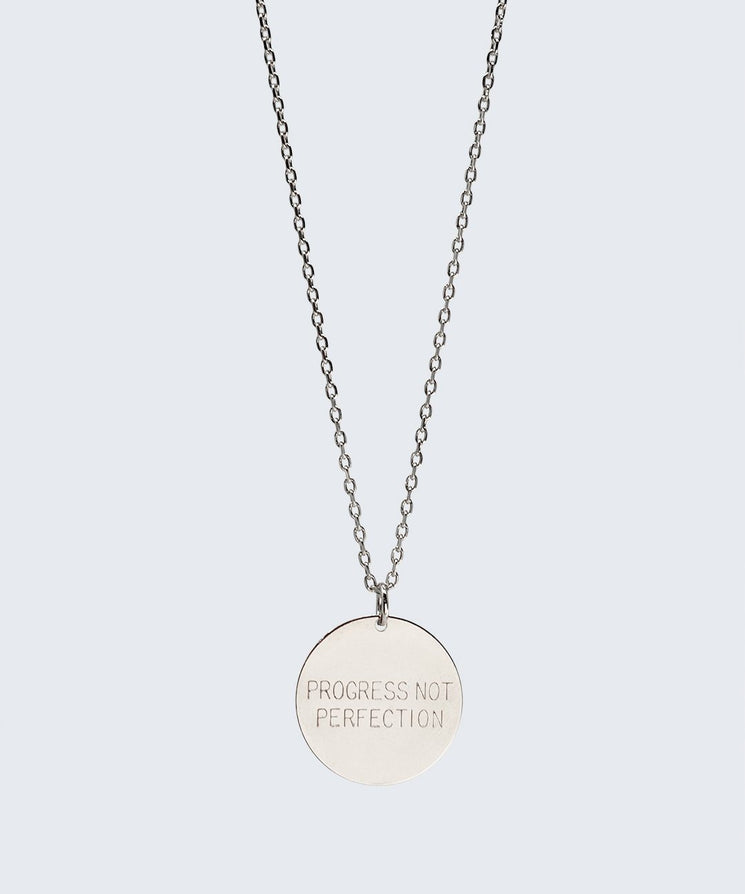 Love Your Flawz Disc Necklace Necklaces The Giving Keys PROGRESS NOT PERFECTION SILVER