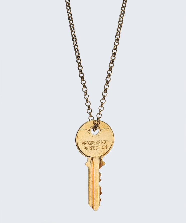 Love Your Flawz Classic Key Necklace Necklaces The Giving Keys PROGRESS NOT PERFECTION GOLD