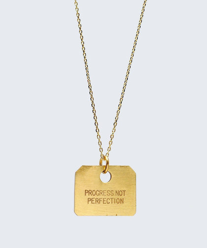 PROGRESS NOT PERFECTION Square Pendant Necklace Necklaces The Giving Keys PROGRESS NOT PERFECTION GOLD