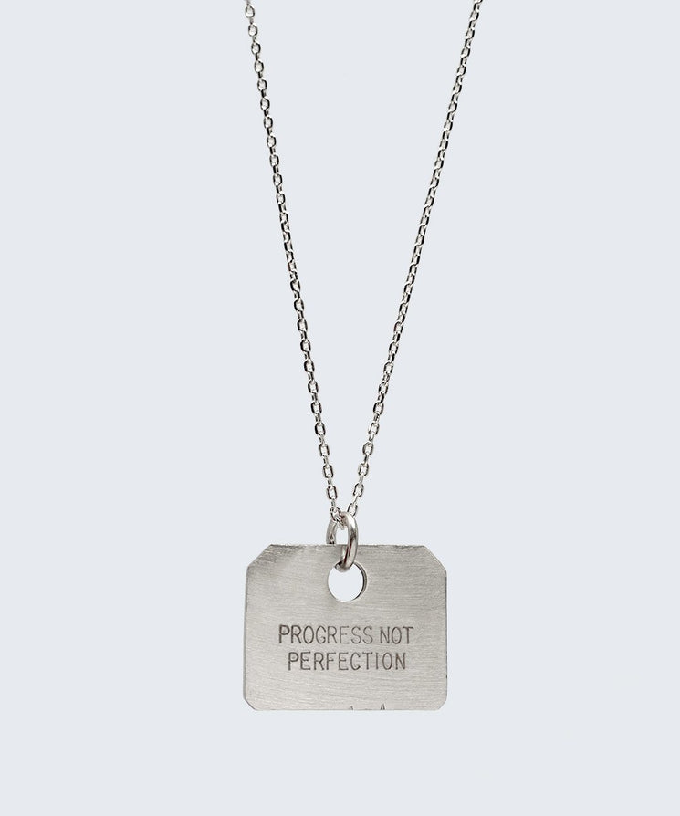 Love Your Flawz Square Pendant Necklace Necklaces The Giving Keys PROGRESS NOT PERFECTION SILVER