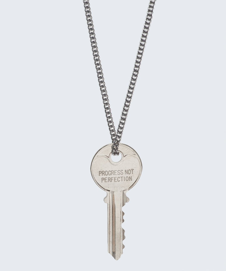 Love Your Flawz Classic Key Necklace Necklaces The Giving Keys PROGRESS NOT PERFECTION SILVER