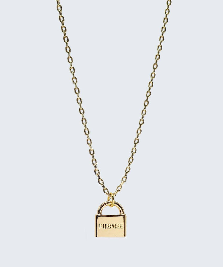 Mini Padlock Necklace Necklaces The Giving Keys PURPOSE Gold