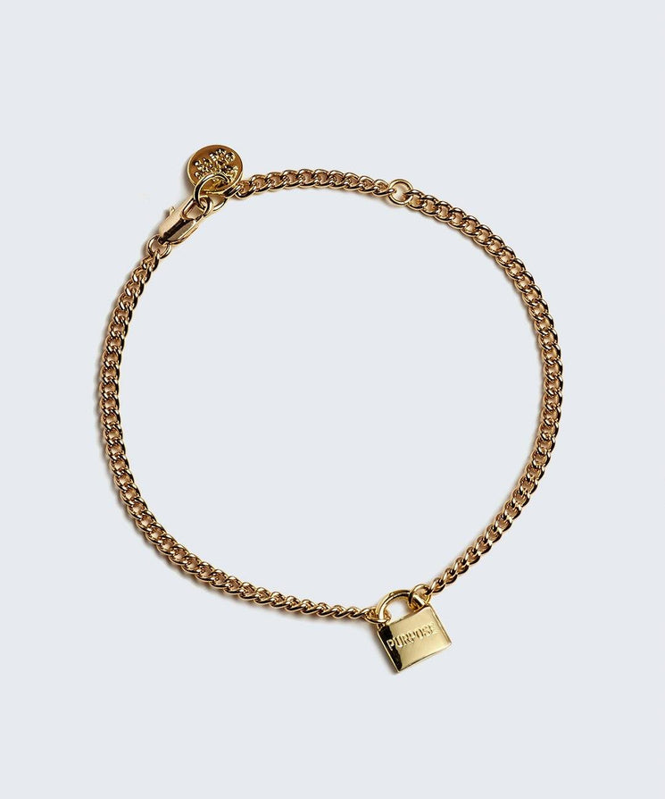 PURPOSE- Mini Padlock Bracelet Bracelets The Giving Keys PURPOSE Gold