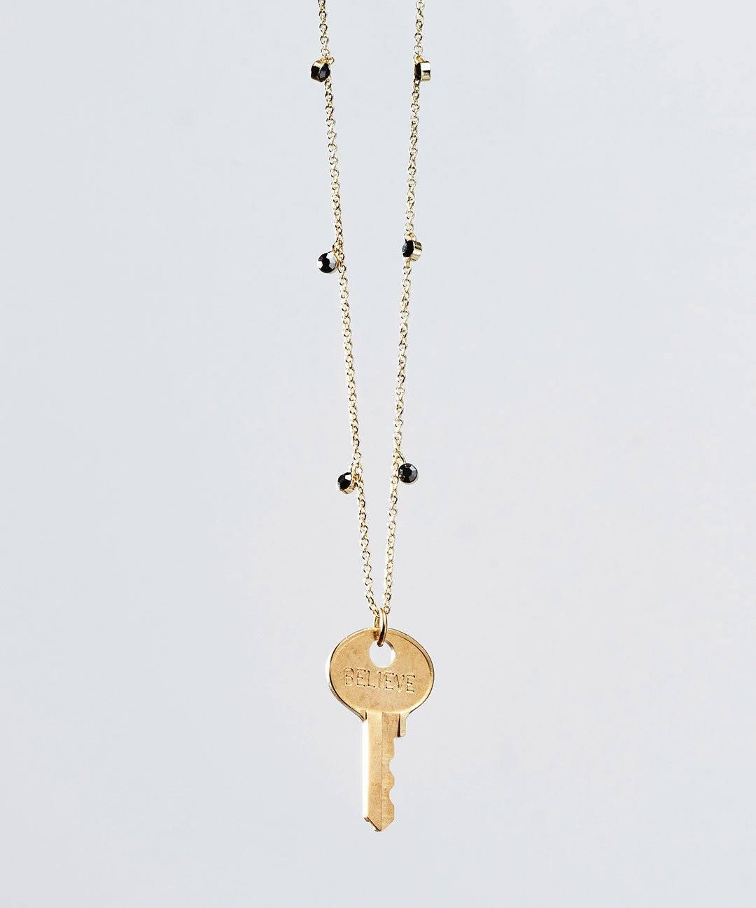 Pyrite Droplet Beaded Dainty Key Necklace Necklaces The Giving Keys BELIEVE PYRITE