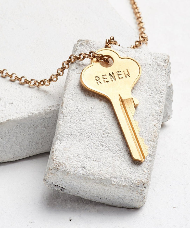 RENEW Classic Key Necklace Necklaces The Giving Keys GOLD