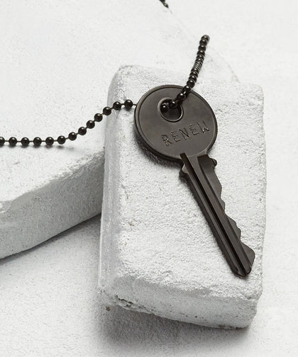 RENEW Matte Black Key Necklace Necklaces The Giving Keys RENEW