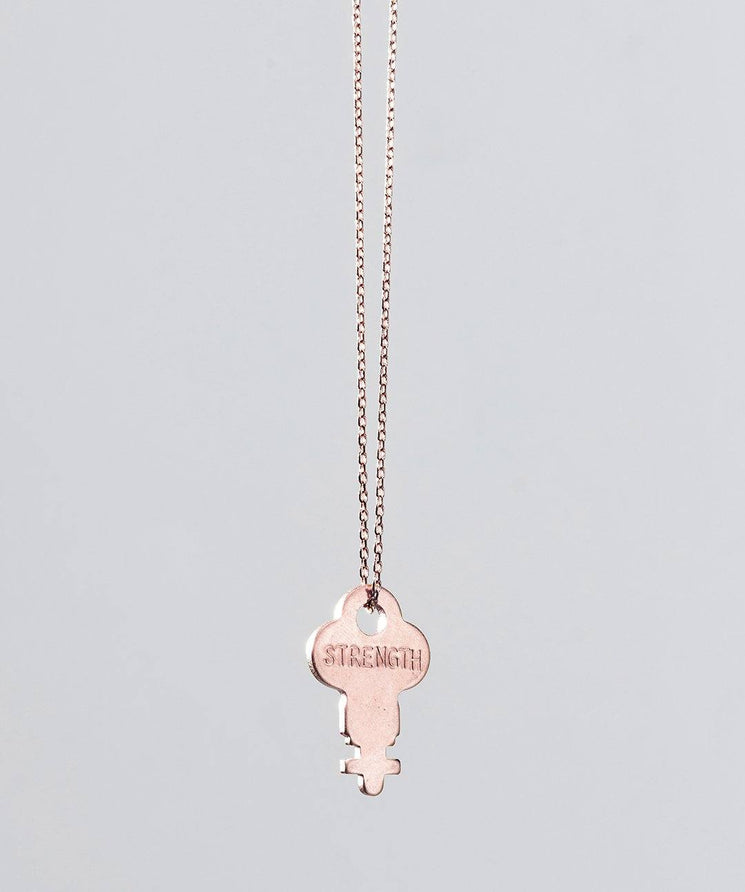 Rose Gold Dainty Key Necklace Necklaces The Giving Keys STRENGTH ROSE GOLD