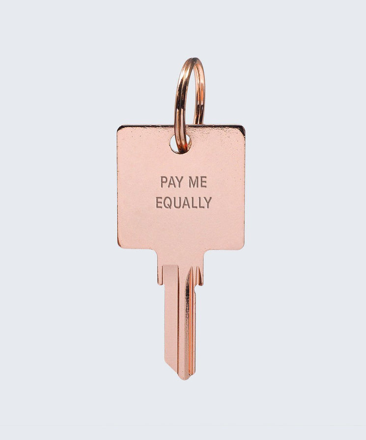 Pay Me Equally Keychain Key Chain The Giving Keys PAY ME EQUALLY ROSE GOLD