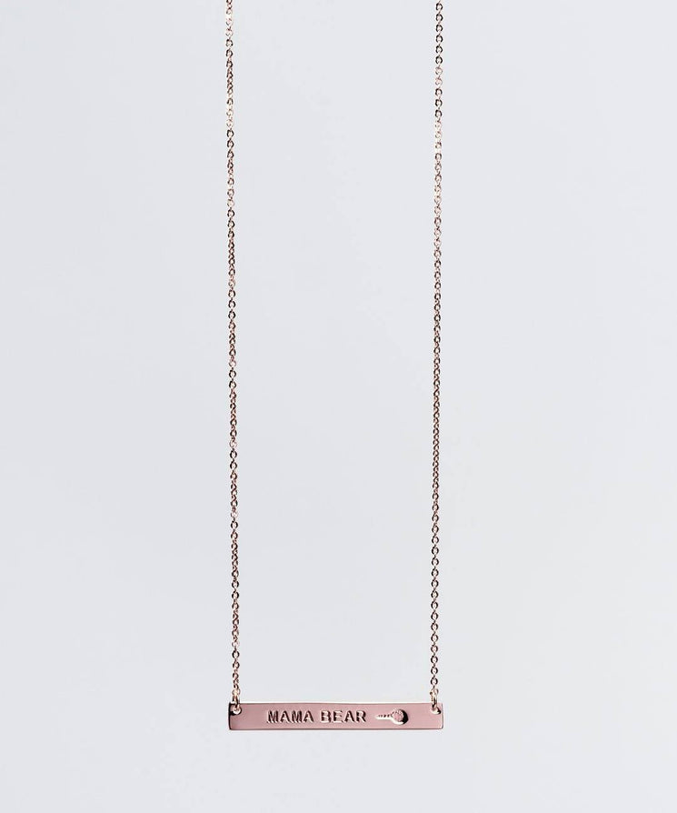 Mother's Day Mama Bear Bar Necklace Necklaces The Giving Keys MAMA BEAR ROSE GOLD