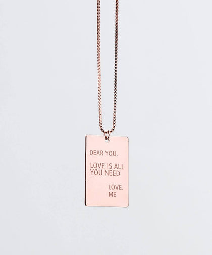 Note to Self LOVE IS ALL YOU NEED Necklaces The Giving Keys Rose Gold