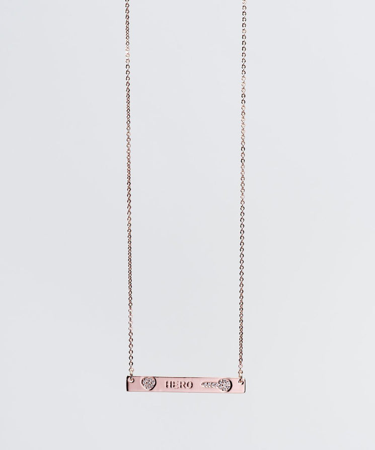 Mother's Day Pave Bar Necklace Necklaces The Giving Keys HERO ROSE GOLD