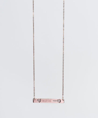 FEARLESS Pave Bar Necklace Necklaces The Giving Keys INSPIRE ROSE GOLD