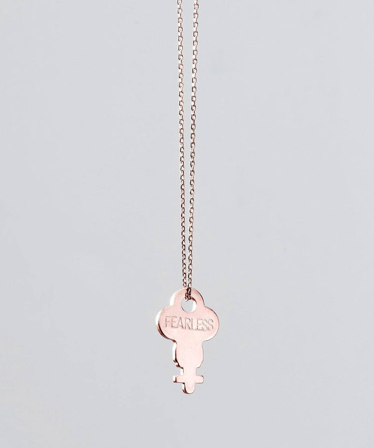 Rose Gold Dainty Key Necklace Necklaces The Giving Keys FEARLESS ROSE GOLD