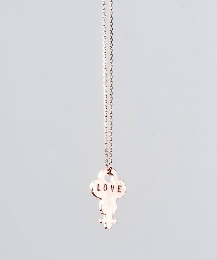 Rose Gold Dainty Key Necklace Necklaces The Giving Keys LOVE ROSE GOLD