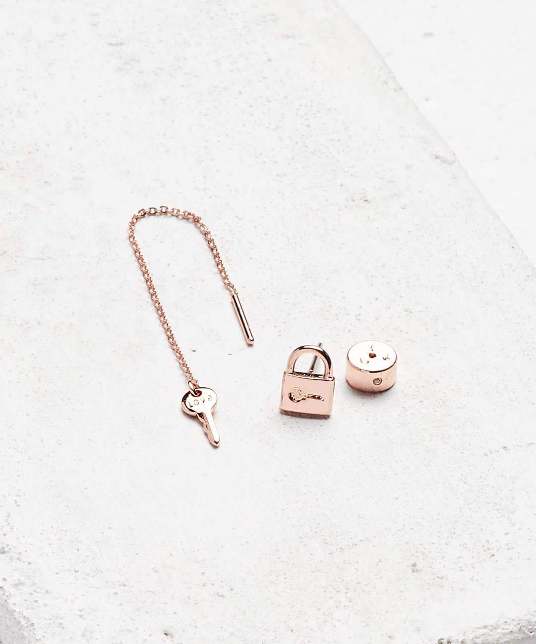 Rose Gold Mini Key Padlock and Threader Earring Set - DISCONTINUED 11/12/18 Earrings The Giving Keys LOVE Rose Gold