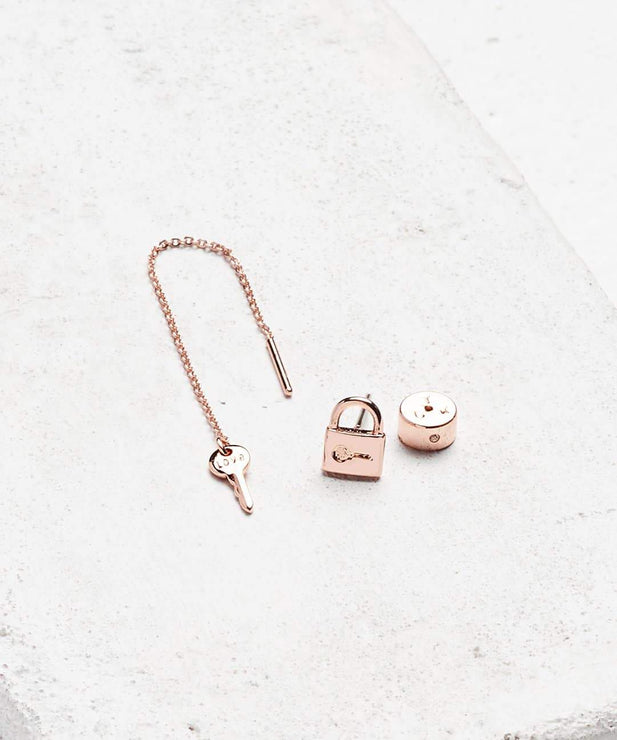 Rose Gold Mini Key Padlock and Threader Earring Set