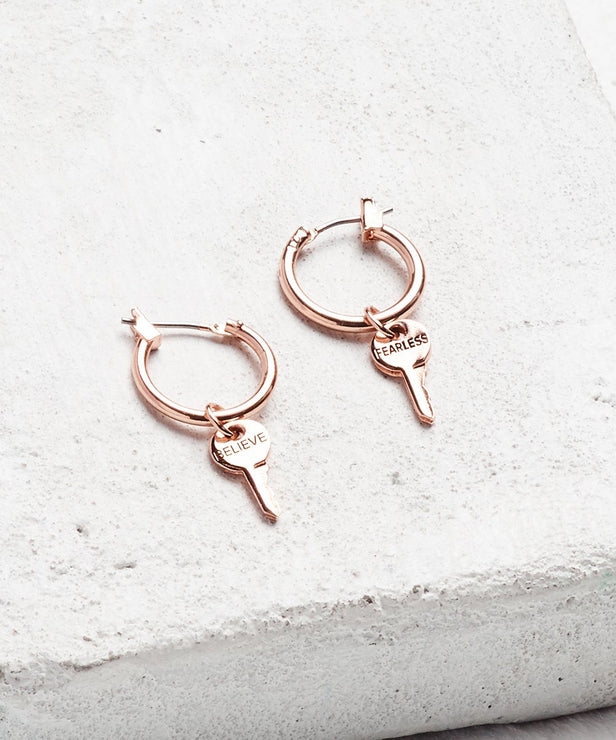 Rose Gold Petite Key Hoop Earrings