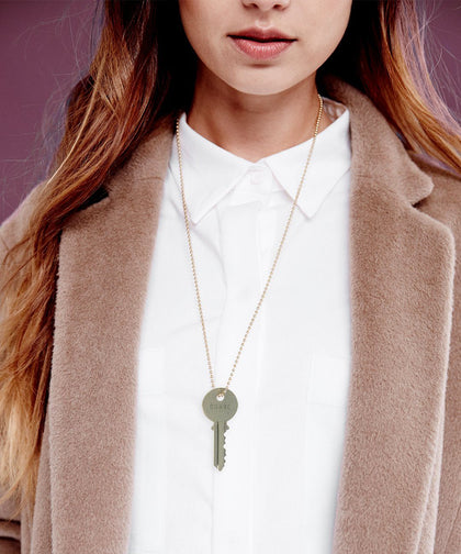 Sage Green Classic Ball Chain Necklace Necklaces The Giving Keys