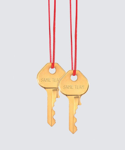 SAME TEAM Red Strand Gold Key Necklace Set Necklaces The Giving Keys SAME TEAM GOLD