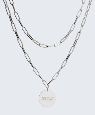 Brooklyn Double Drop Disc Necklace Necklaces The Giving Keys BELIEVE Silver