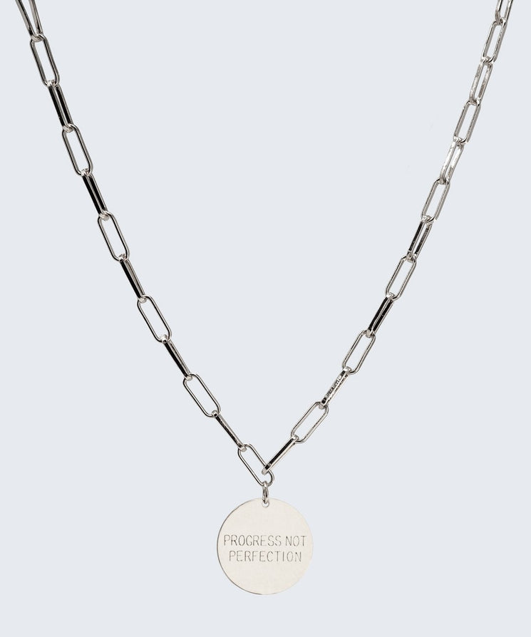 Progress Not Perfection Brooklyn Disc Necklace Necklaces The Giving Keys SILVER