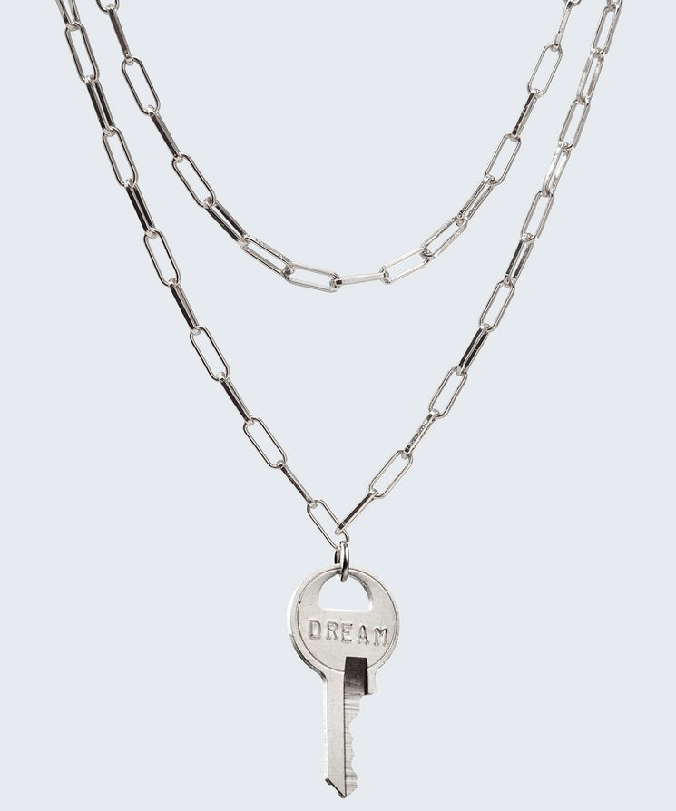 Brooklyn Double Drop Dainty Necklace Necklaces The Giving Keys DREAM Silver